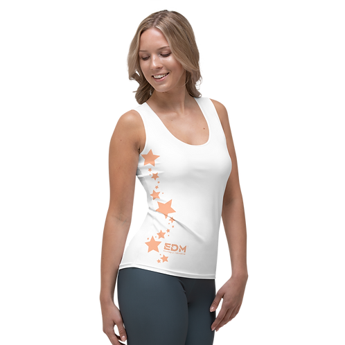 Women's Vest - EDM J to F Peach Star - White