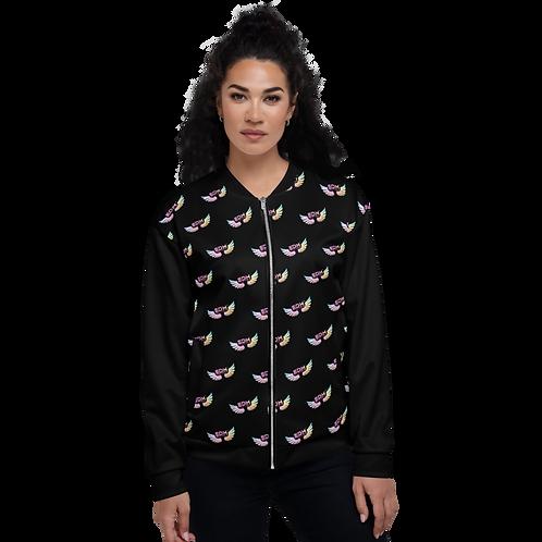 Women's Unisex Fit Bomber Jacket-EDM J to F Logo Tye Dye Pattern-Black
