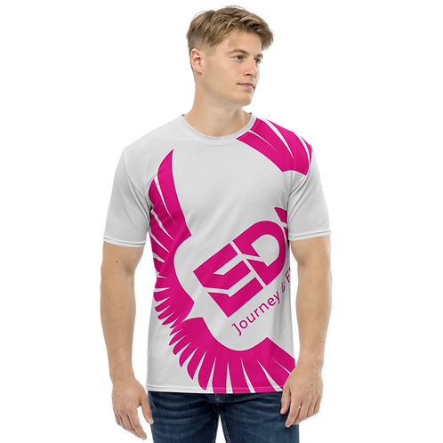 Men's T-shirt Ice Grey - EDM Journey to Freedom Large Print - Hot Pink