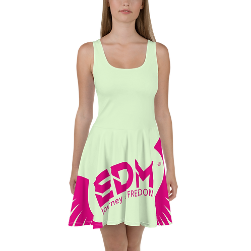 Skater Dress Mint - EDM Journey to Freedom Print Style 6 - Hot Pink