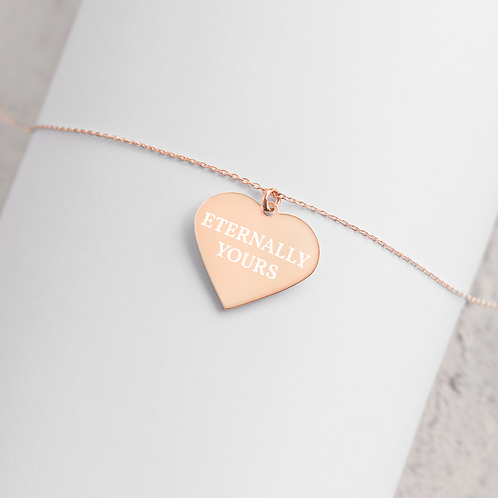 Engraved Silver / Rose Gold Heart Necklace - 'ETERNALLY YOURS'