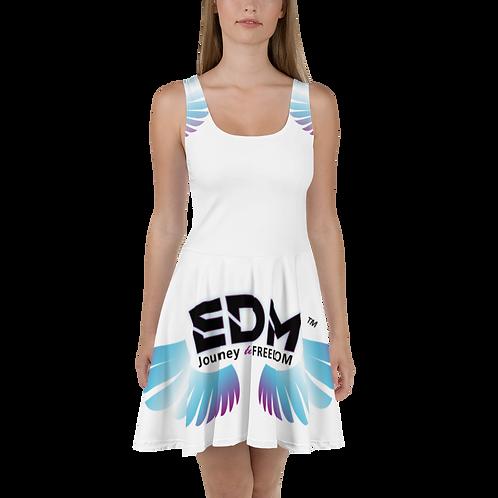 Womens Skater Dress - EDM J to F Multi Logo - White