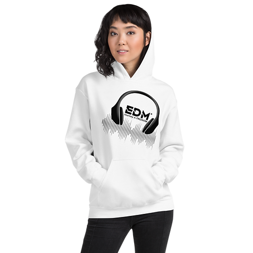 Womens Hoodie - EDM J to F DJ Headphones Print Black - Various