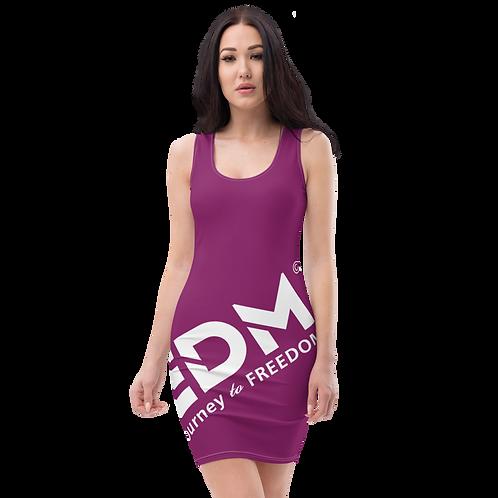 Body Con Dress - Plum EDM Journey to Freedom No wings Print - White