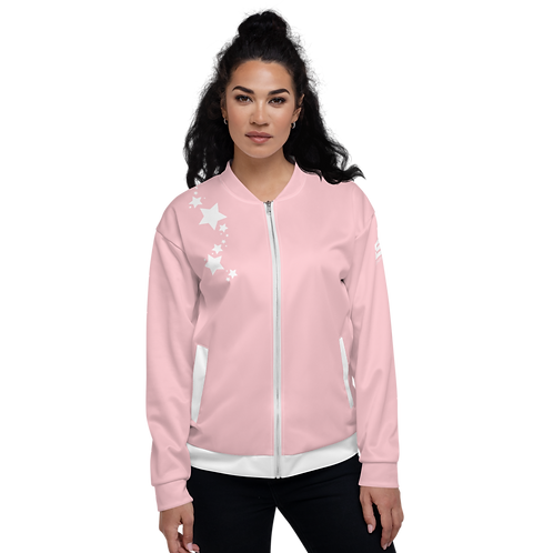 Women's Unisex Fit Bomber Jacket - EDM J to F - Baby Pink White Star