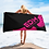 Thumbnail: Beach / Bath Towel Black - EDM Journey to Freedom Print - Hot Pink