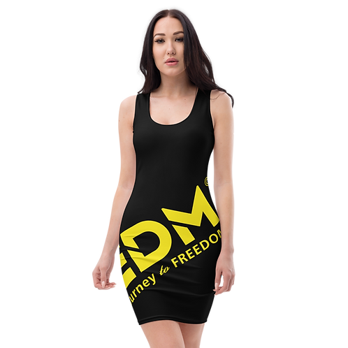 Body Con Dress - Black EDM Journey to Freedom No wings Print - Yellow