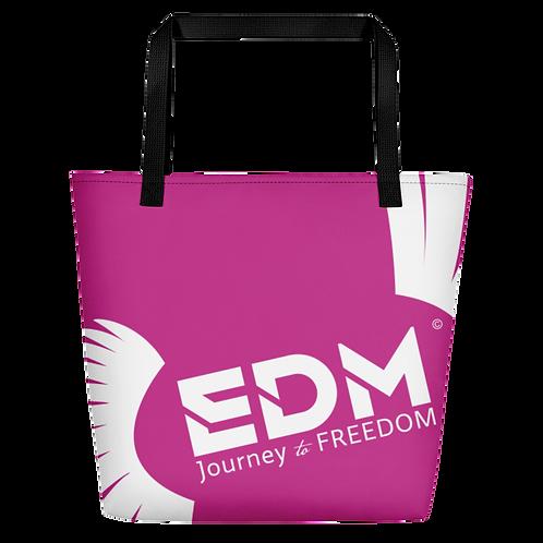 Beach Bag - Dark Pink EDM Journey to Freedom Print - White