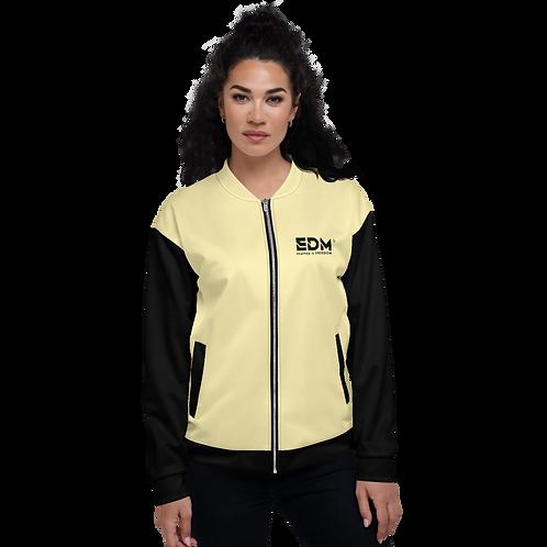 Womens Unisex Fit Bomber Jacket - EDM J to F Two-Tone Lemon / Black