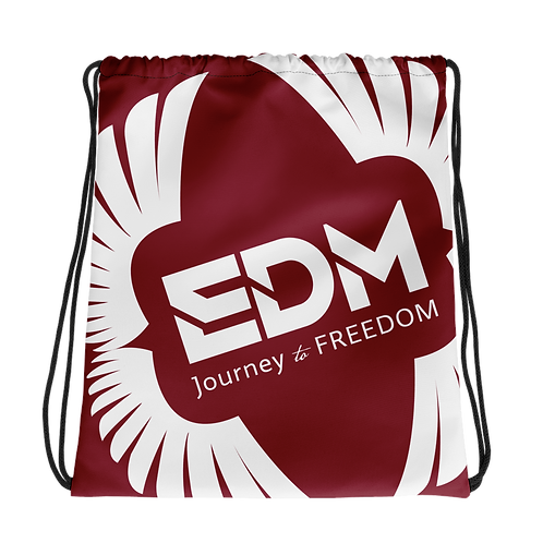 Burgundy Drawstring Bag - EDM Journey to Freedom Large Print - White