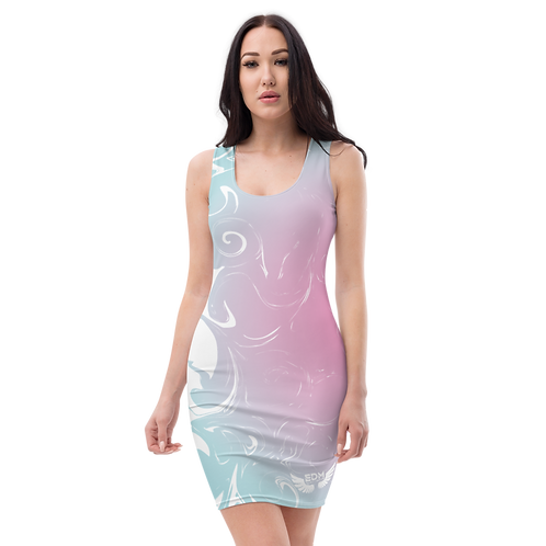 Body Con Dress - EDM J to F Pink/Blue Circle Gradient Swirl - White