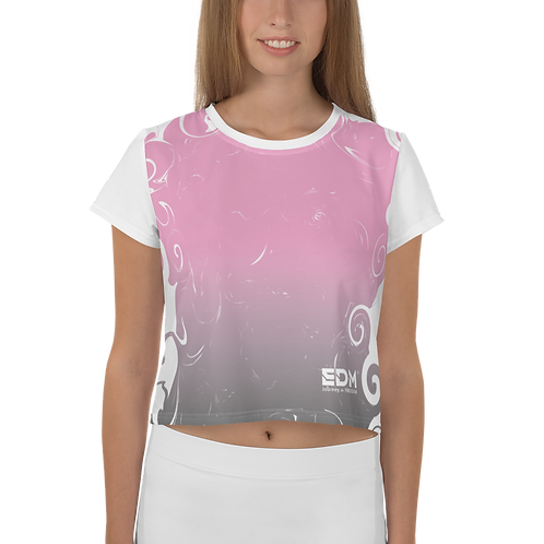 Women's Crop Tee - Gradient Pink/Grey/White - EDM J to F Small Logo White