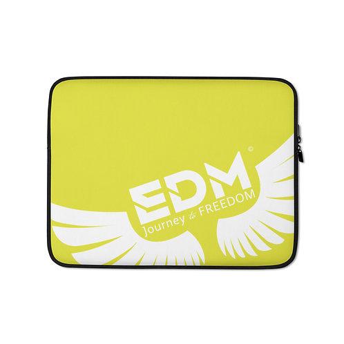 "Lime Green Laptop Sleeve - 13"", 15"" - EDM Journey to Freedom Print - White"