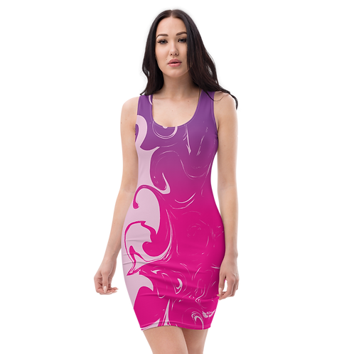 Body Con Dress - EDM J to F Purple/Pink Gradient Swirl - Pink
