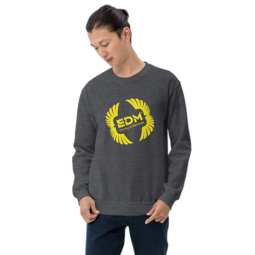 Men's Sweatshirt - EDM J to F Square Wings Logo - Yellow / Various