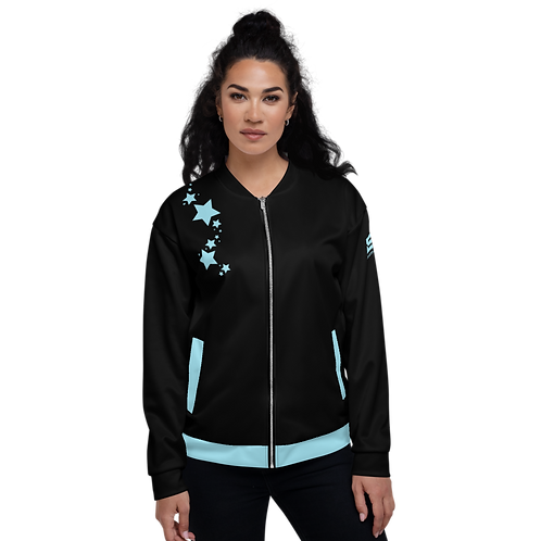 Women's Unisex Fit Bomber Jacket - EDM J to F - Black Sky Blue Star