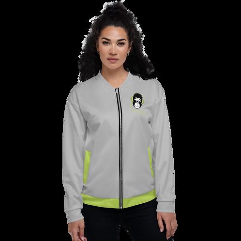 Women's Unisex Fit Bomber Jacket - GS Music Academy - Grey / Green Detail