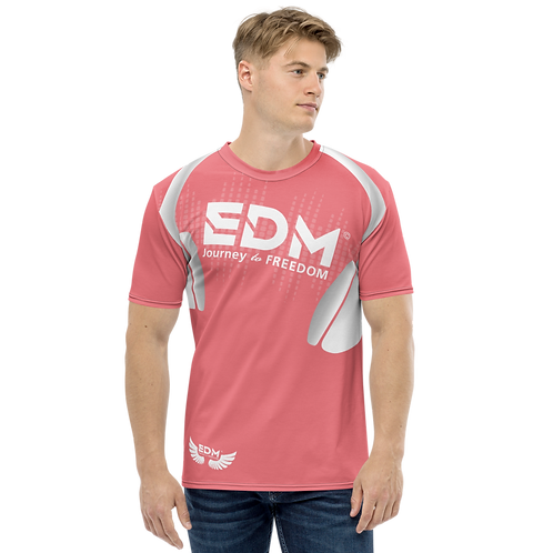 Men's T-shirt - EDM J to F Headphones - White / Coral