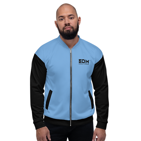 Men's Unisex Fit Bomber Jacket - EDM J to F Two-Tone Blue / Black