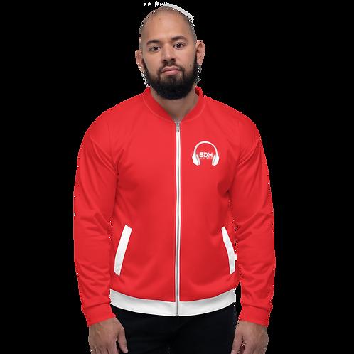 Mens Unisex Fit Bomber Jacket - EDM J to F - Red / White DJ Style
