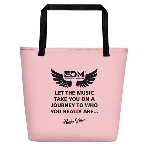 Beach Bag - EDM J to F Slogan Print Black - Pink