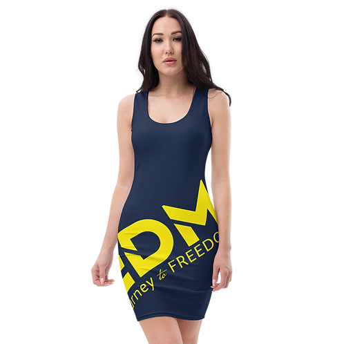 Body Con Dress - Navy EDM Journey to Freedom No wings Print - Yellow