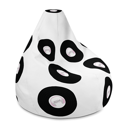 Bean Bag Chair Cover - EDM J to F Record H/phone Pink Logo - White