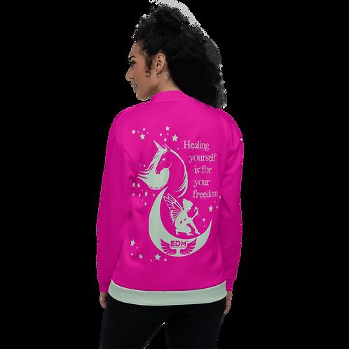 Women's Unisex Fit Bomber Jacket - Unicorn Fairy Sage - Pink