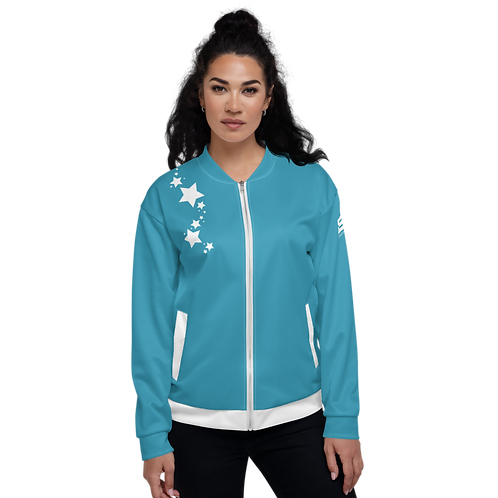 Women's Unisex Fit Bomber Jacket - EDM J to F - Blue Teal White Star