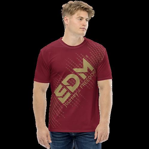 Men's T-shirt - EDM J to F Sound Bars - Gold/Burgundy