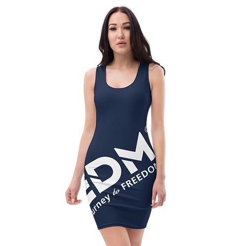 Body Con Dress - Navy EDM Journey to Freedom No wings Print - White