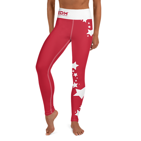 Women's Leggings White Star - EDM J to F Dark Red