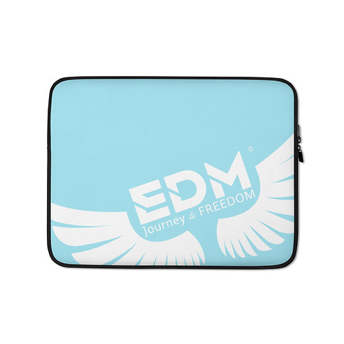 "Sky Blue Laptop Sleeve - 13"", 15"" - EDM Journey to Freedom Print - White"