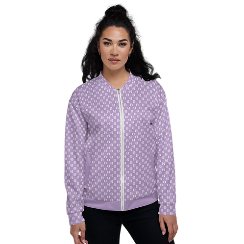 Women's Unisex Fit Bomber Jacket - EDM Journey to Freedom Pattern Purple / White