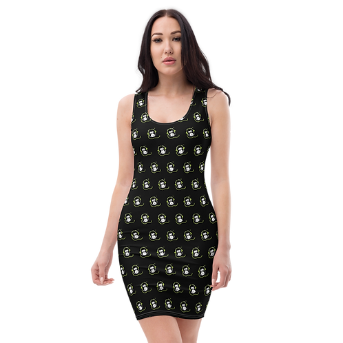 Women's Body Con Dress - GS Music Academy Ape DJ Pattern - Black