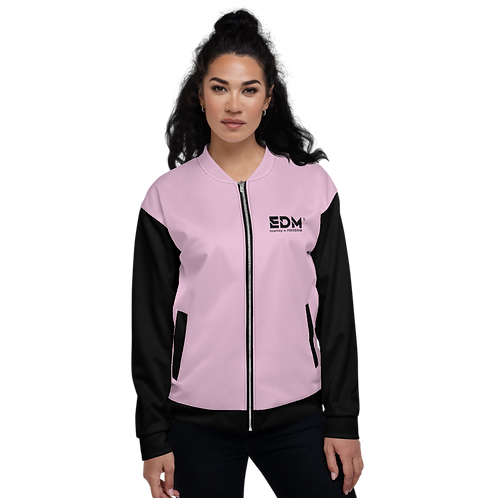 Womens Unisex Fit Bomber Jacket - EDM J to F Two-Tone Pink / Black