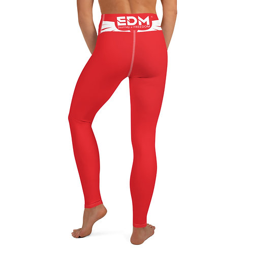 Women's Yoga Leggings Red - EDM Jorney to Freedom Print - White