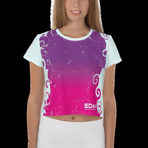 Women's Crop Top - Gradient Hot Pink/Purple EDM J to F Logo Ice Blue