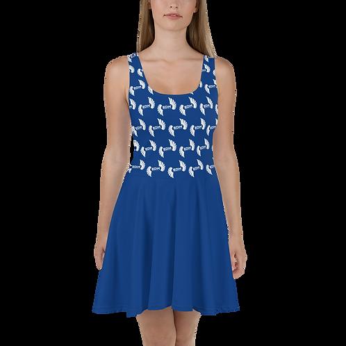Skater Dress EDM J to F Top Pattern Print White - Royal Blue