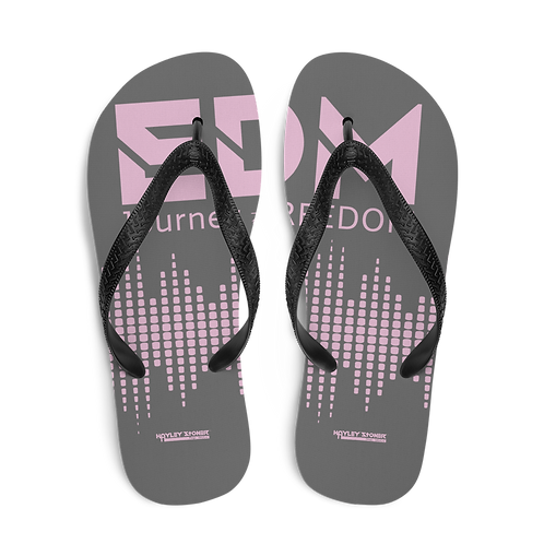 Flip-Flops Charcoal EDM J to F Sound Bars Print - Pink