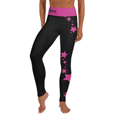 Women's Leggings Dark Pink Star - EDM J to F Black