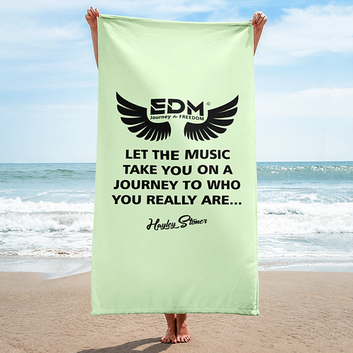 Beach Towel / Towel - EDM J to F Slogan Print Black - Mint