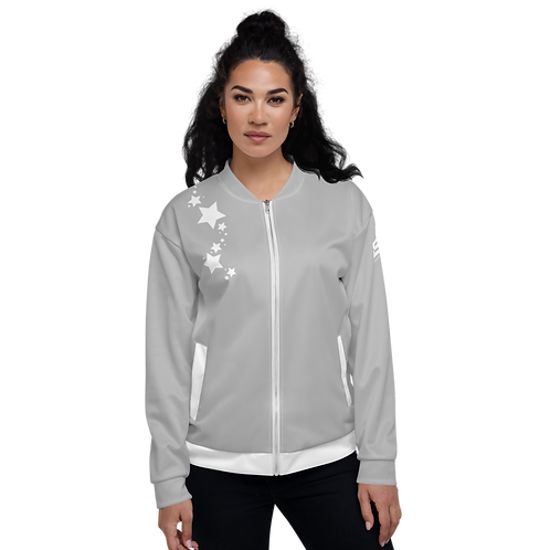 Women's Unisex Fit Bomber Jacket - EDM J to F - Grey White Star