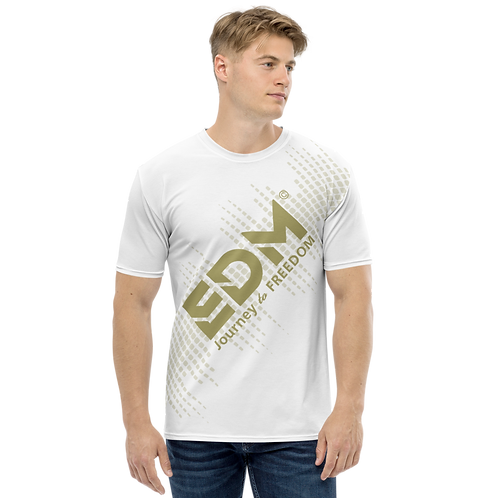 Men's T-shirt - EDM J to F Sound Bars - Gold/White