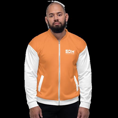 Mens Unisex Fit Bomber Jacket - EDM Journey to Freedom White / Orange