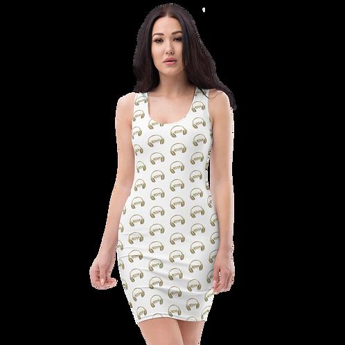 Body Con Dress - EDM J to F Headphone Gold - White