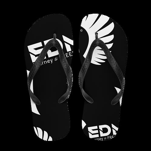 Flip-Flops Black EDM Journey to Freedom Print - White