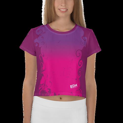 Women's Crop Tee - Gradient Hot Pink/Purple/Plum - EDM J to F Small Logo White