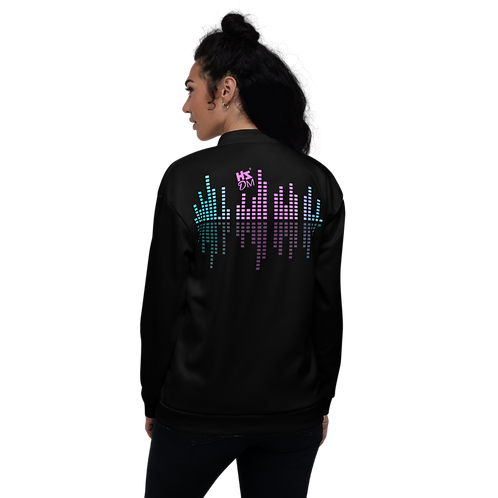 Women's Unisex Fit Bomber Jacket - HS Design & Music Equalizer Multi - Black