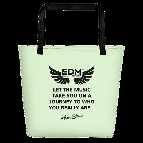 Beach Bag - EDM J to F Slogan Print Black - Mint